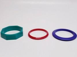 3 Retro 80s Plastic Bangle Bracelets Chunky - Pink, Purple & Teal - Vint... - $19.69