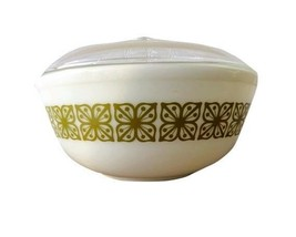 Pyrex 404 Green Verde Flower Mixing Bowl With Lid 4 Quart Usa - $49.49