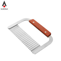 Wulekue Stainless Steel Wooden Handle Potato Corrugated - $17.95