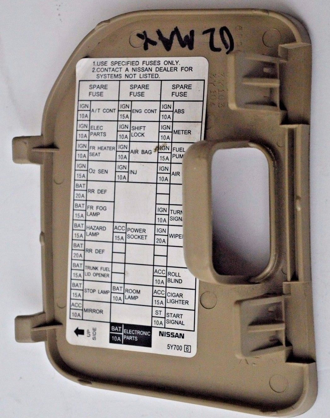 ... 00 01 02 03 Nissan Maxima Tan Fuse Block Cover Lid Door Panel OEM 2000-