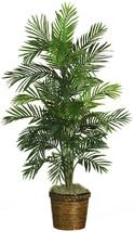 Indoor Tropical Plant Decorative Areca Palm Tree Silk with Basket 4-Feet... - $86.12