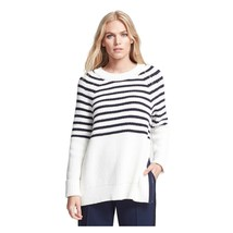 Kate Spade Navy Cream Striped Chunky Transcontinental Express Aura Sweater M NWT - $172.76
