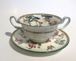 Wedgwood Swallow Green Trim Cream Soup Bowl Cup & Saucer Set s W1959 - $39.58