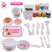 UCanaan 25 pcs Plastic Dinner Set for Barbie Doll Educational Classic To... - $21.60