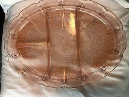"Vintage 13"" Cherry Depression Glass Platter Divided Jeanette 1930's - $39.99"