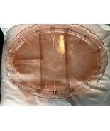 "Vintage 13"" Cherry Depression Glass Platter Divided Jeanette 1930's - $23.99"
