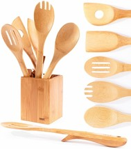 NEW Organic Elevated Wooden Bamboo Cooking Serving Utensils Kitchen 6 Pi... - $51.92 CAD