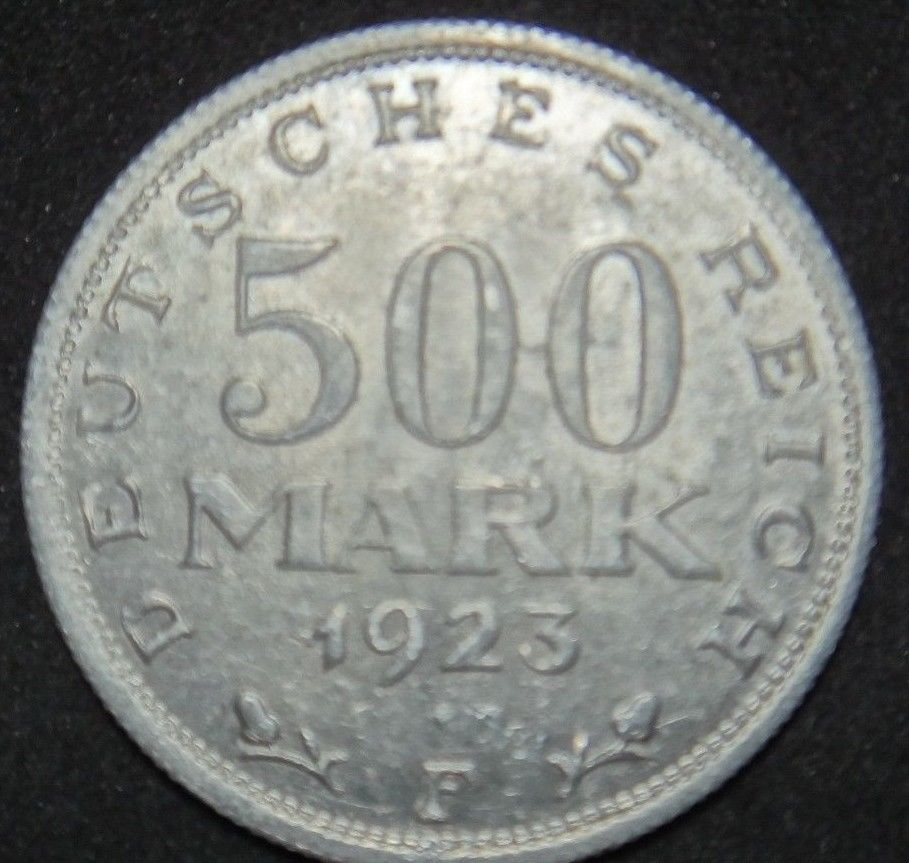 GERMANY 500 MARK ALU COIN 1923 A WEIMAR TIME RARE COIN aUNC