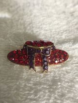 Vintage Red Hat Society Glass & Metal Lapel Brooch Pin image 6