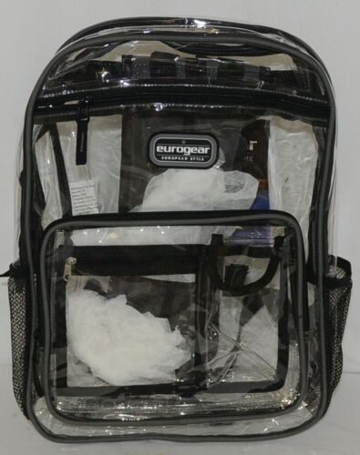 Shalam Imports Brand Eurogear Extreme Adventure Clear Backpack Black Trim