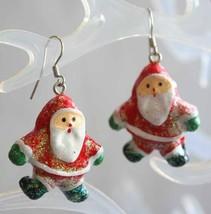 Festive Glittery Santa Claus Silver-tone Pierced Earrings 1980s vintage ... - $12.30