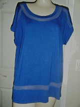 CABLE & GAUGE CAP SLEEVE SCOOP NECK STRETCH RAYON NAVY TOP SIZE L - $14.50