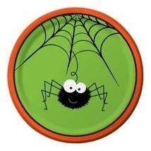 """Frightful Fun Halloween Spiderweb Spider 8 Ct Dessert Cake Plates 7"""" - $2.99"""