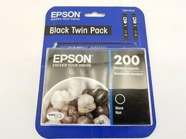 Genuine Epson 200 Black Twin Pack Ink Cartridge New Sealed (Exp 01/2019) - $29.33