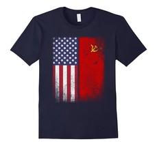 American Soviet Flag T-shirt USSR Hammer Sickle Russia CCCP Men - $17.95+