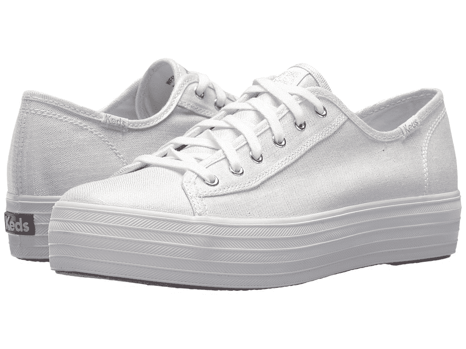 Keds WF58063 Women's Triple Kick Metallic Linen Silver shoes, 10 Med image 2