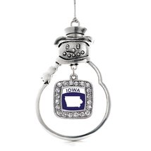 Inspired Silver Iowa Outline Classic Snowman Holiday Christmas Tree Ornament Wit - $14.69