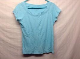 New York & Co Ladies Baby Blue Pullover Short Slv Shirt Sz L