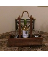 Handmade Wood Wine Bottle and Glasses Holder Early American Finish - $22.77