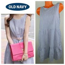 OLD NAVY Large 12 14 DRESS Sundress STRIPE Nautical BLUE White Ruffle Sl... - €23,61 EUR