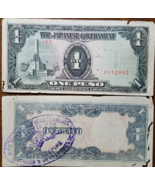 Japanese Government One Peso Stamped Received for Safekeeping in Philipp... - $2.95