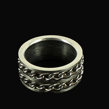 VINTAGE STAINLESS STEEL DOUBLE CHAIN HEAVY THICK BAND UNISEX RING SIZE 10.5 - $40.49