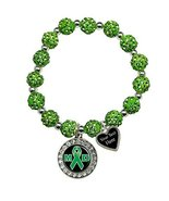Holly Road Muscular Dystrophy Awareness Green Bling Stretch Bracelet Jew... - $19.79