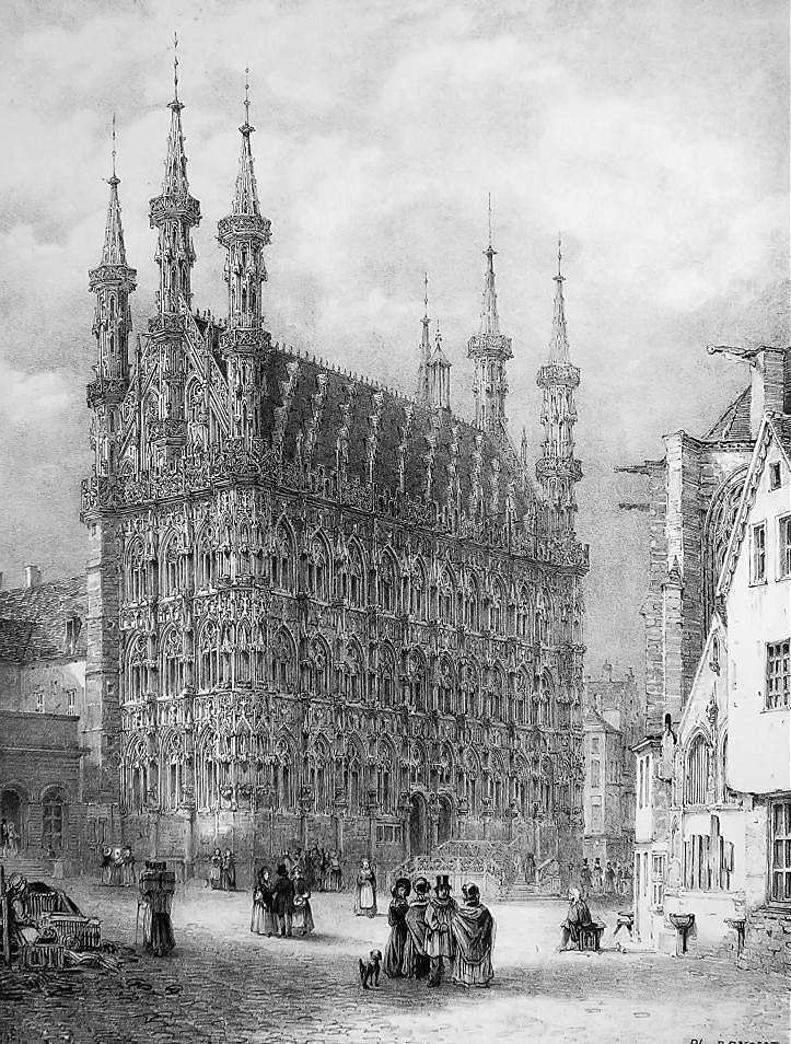 BELGIUM City Hall of Leuven Louvain - SUPERB 1843 Antique Print