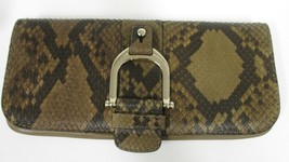 GUCCI Taupe Greenwich  Python & Leather Horsebit Clutch - $429.99