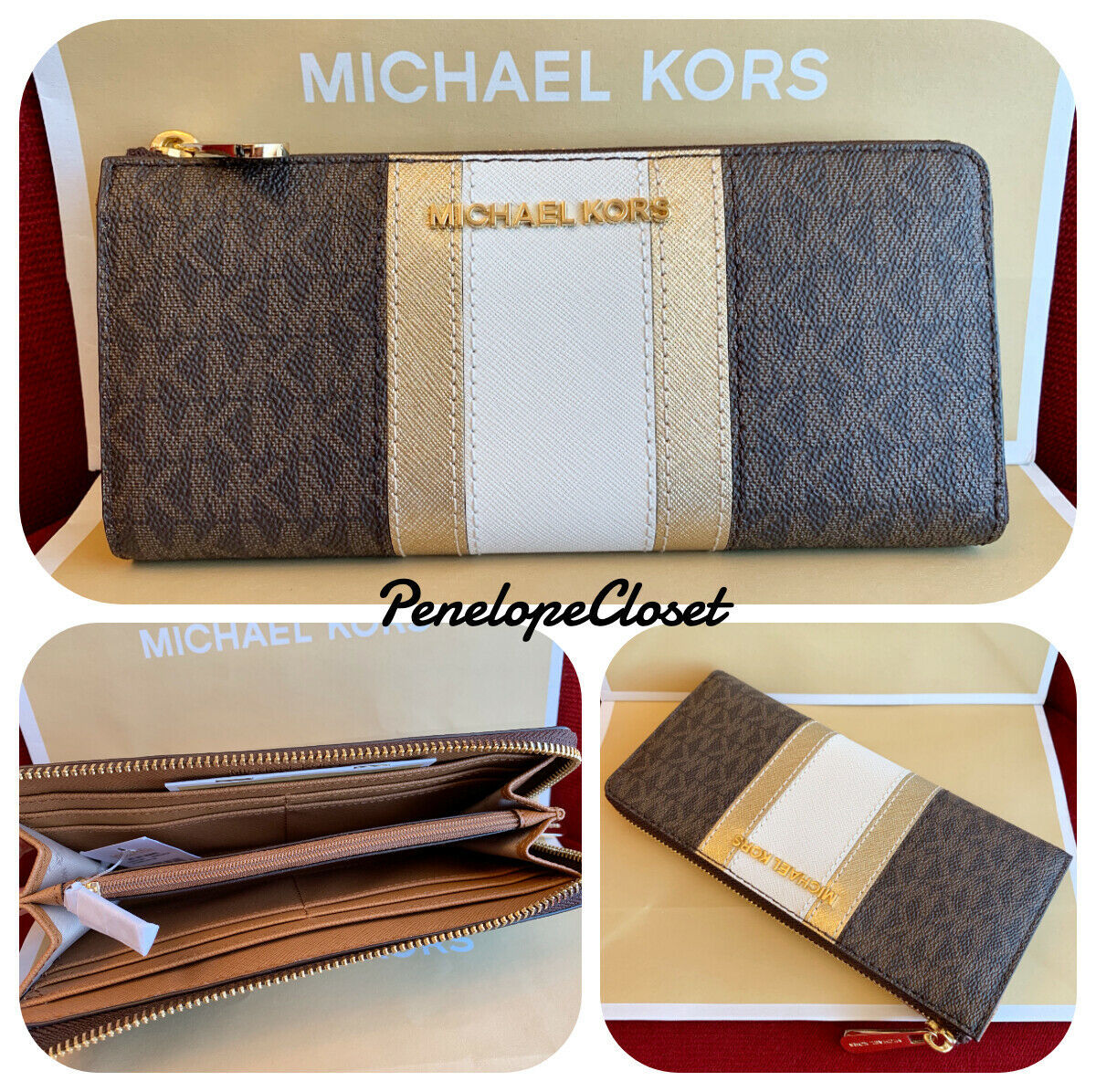 e00f30db35b8e6 NWT MICHAEL KORS JET SET TRAVEL LOGO PVC CENTER STRIPE 3/4 ZIP WALLET IN  BROWN - $75.88