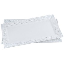 """Silver Spoons and More Tray white Lace Rim 14""""x7.5"""" Plastic Set of 2 Trays - $12.99"""