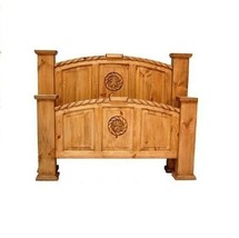 Queen Rustic Mansion Bed with Star and Rope * Western * Free Shipping * - $1,039.49