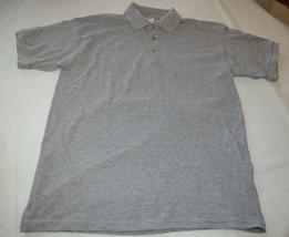 Gildan Ultrablend adult M medium mens Grey Heather school work polo shirt NOS - $13.36