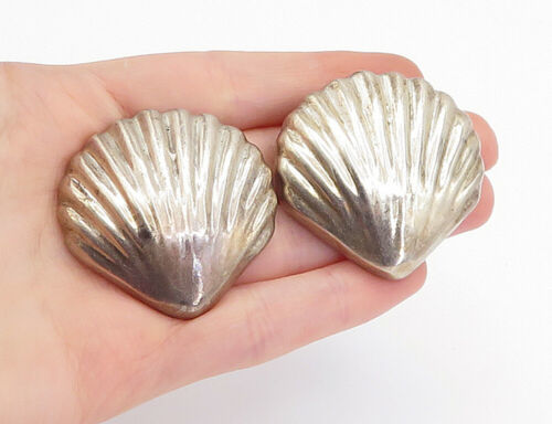 Primary image for MEXICO 925 Silver - Vintage Scalloped Clam Shell Non Pierce Drop Earrings- E9541