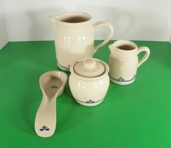 Friendship Pottery Roseville OH COUNTRY PETALS Creamer Sugar Pitcher Spo... - $26.68