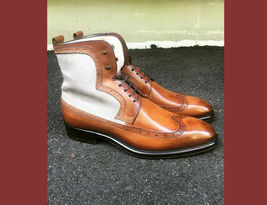 Genuine Premium White Brown Two Tone Leather High Ankle Men LaceUp WingTip Boots image 2
