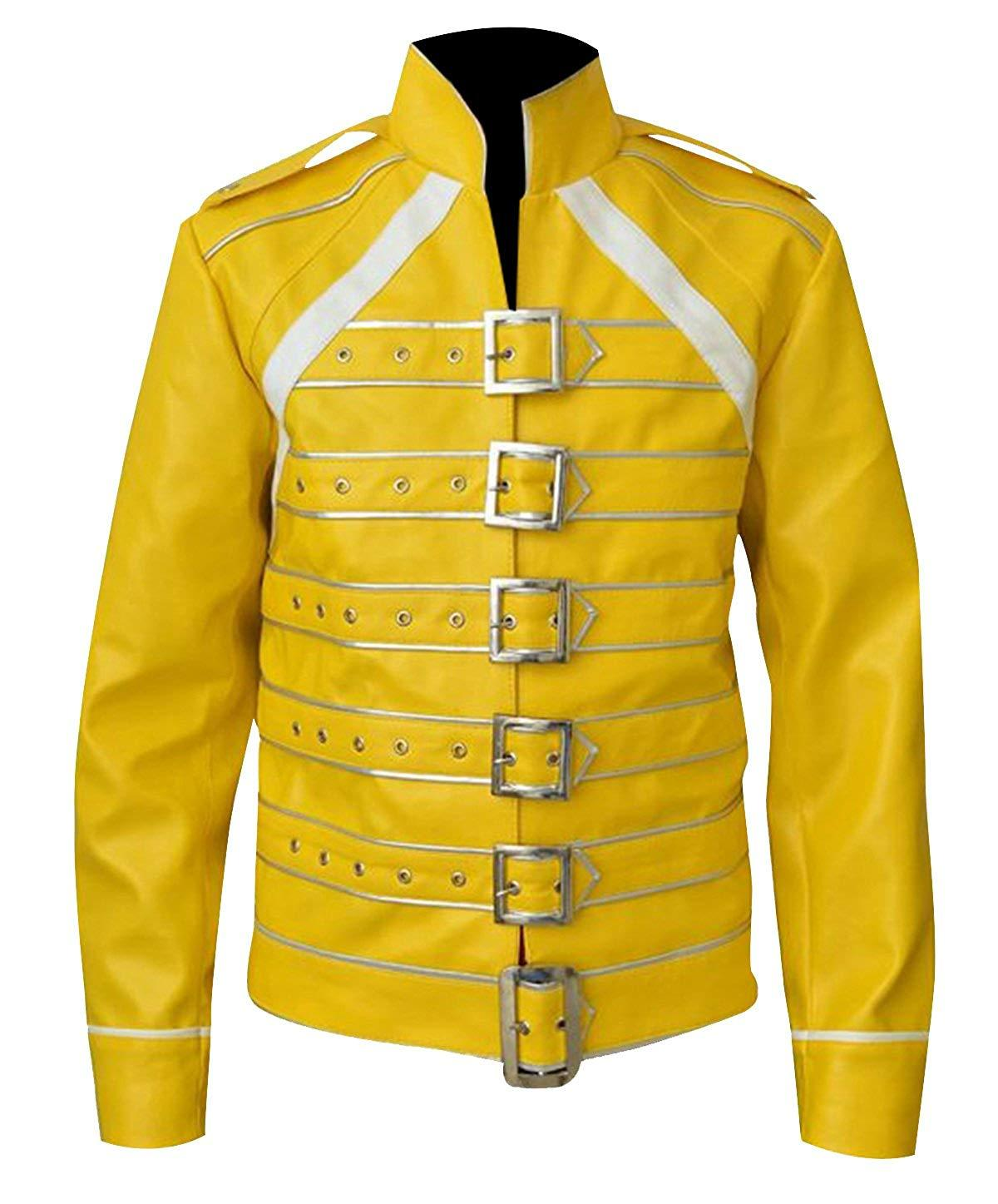 Freddie jacket tribute concert belted motorcycle yellow pu leather costume