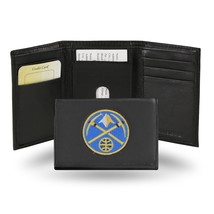 Denver Nuggets Wallet Embroidered Trifold Official NBA RICO Leather Black - $33.45
