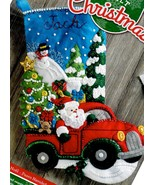 Bucilla Christmas Drive Santa Farm Truck Christmas Eve Felt Stocking Kit... - $39.95