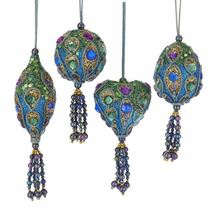 Peacock Sequined Christmas Ornaments Set of 4  - $59.99