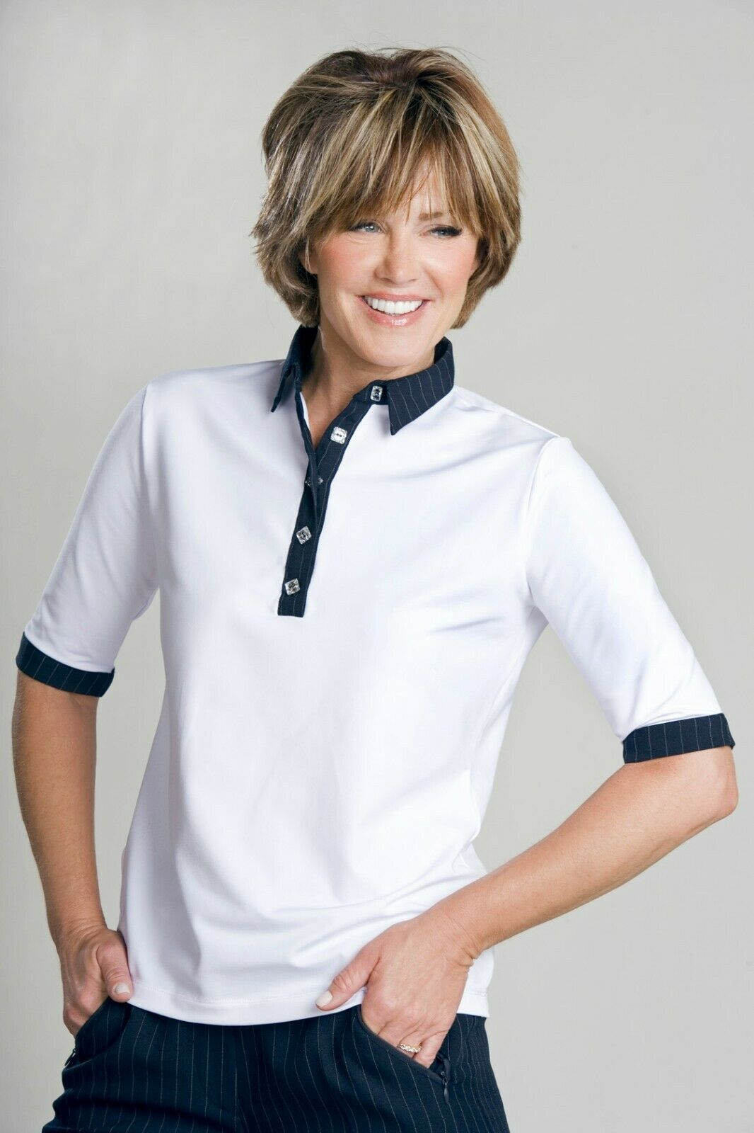 Stylish Women's Golf & Casual White Short Sleeve Collar Top, Swarovski Buttons