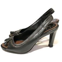 Cole Haan Air Womens 6 Tassel Heels Brown Sling Back Open Toe Shoes - $28.61