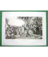 NUDE Greek Beauty at Phryne Bath at Sea - 1893 Victorian Era Antique Print - $29.70