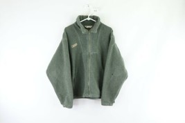 Vintage 90s Columbia Mens Medium Spell Out Deep Pile Fleece Jacket Green... - $59.35