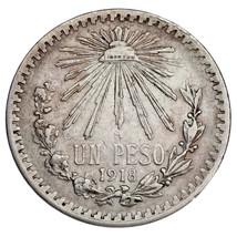 1918/7 Mexico Silber 1 Peso Overstrike VF Zustand image 2