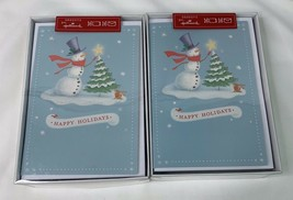 Hallmark Holiday Cards Blue Snowman Tree 32 total cards Christmas NEW - $10.94