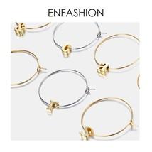Letter Hoop Earrings Gold color Earings Alfabet Initial Round Earrings F... - $15.93