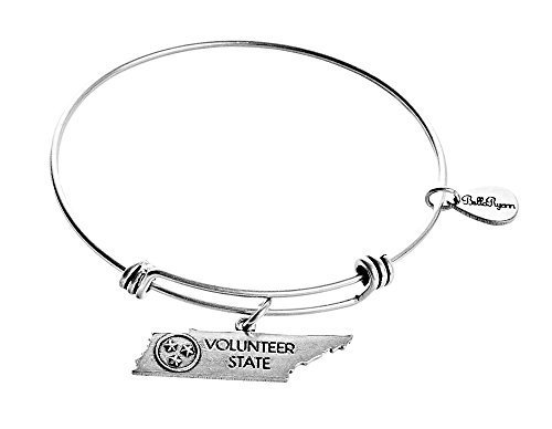 State of Tennessee Charm Bangle Bracelet (silver-plated-base)