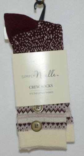 Simply Noelle Cream Blush Maroon Crew Sock One Size Fits Most