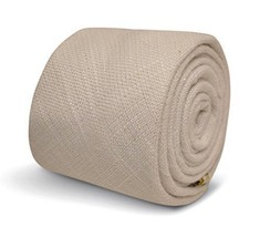 Frederick Thomas plain white men's tie in textured linen material